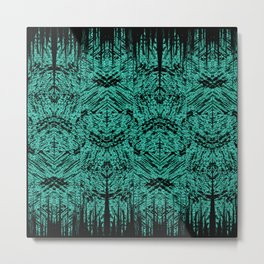 Turquoise Tribal Ethnic Repeat Mirrored Pattern Metal Print