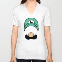 luigi V-neck T-shirts featuring Misfit Luigi by cudatron