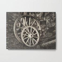 Cart wheels - mono Metal Print