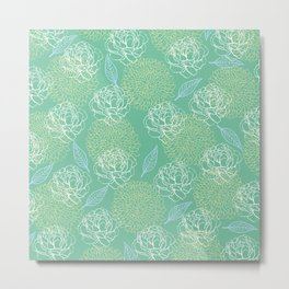 Pastel Peony and Leaf Pattern Design  Metal Print
