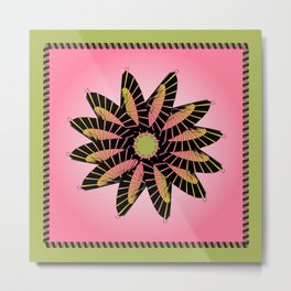 Pink Stitched Flower Metal Print