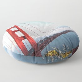 San Francisco Golden Gate Bridge | Dramatic Red with Foggy Water and Blue Sky Photograph Floor Pillow