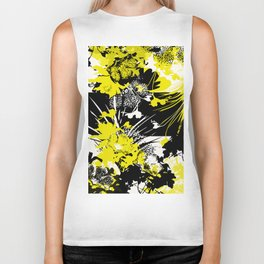 tropical flower silhouette in yellow Biker Tank