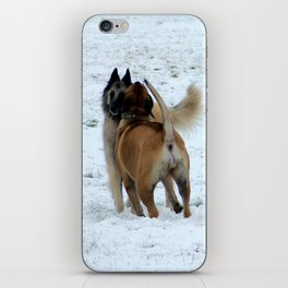 Dogs playing in the snow iPhone Skin