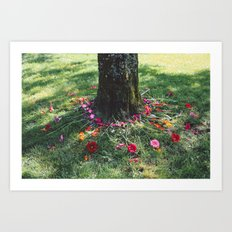 Beautiful Earth in Floral Decor Art Print