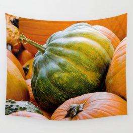 Fall: Green Pumpkin Wall Tapestry