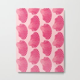 Scallop Shell Block Print, Fuchsia and Pale Pink Metal Print