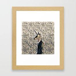 Army unicorn Framed Art Print