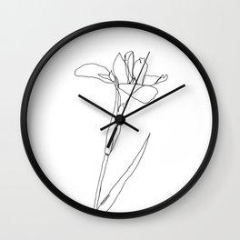 Pink Petal Flower - One Line Art Wall Clock