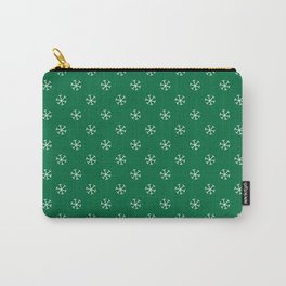 White on Cadmium Green Snowflakes Carry-All Pouch