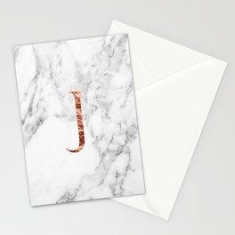 Monogram rose gold marble J Stationery Cards