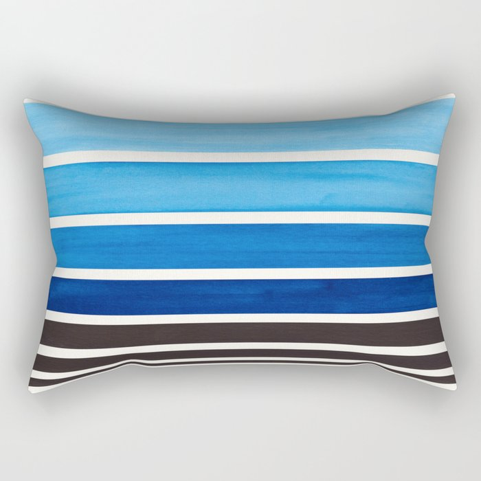 Prussian Blue Minimalist Watercolor Mid Century Staggered Stripes Rothko Color Block Geometric Art Rectangular Pillow