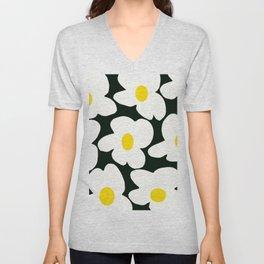 White Retro Flowers Black Background #decor #society6 #buyart Unisex V-Neck