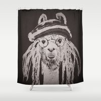 llama Shower Curtains featuring Funky Llama by Paula Belle Flores