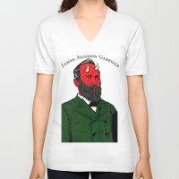 garfield V-neck T-shirts featuring James Abaddon Garfield by @DrunkSatanRobot
