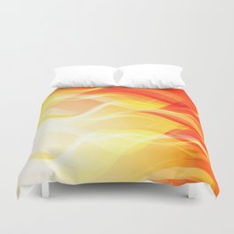 Theme of fire for the banner. Bright red and orange glare on a gentle background for a fabric or pos Duvet Cover