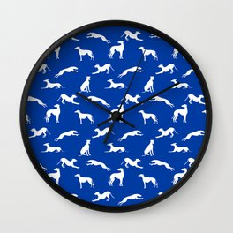 Greyhound Silhouettes White on Blue Wall Clock