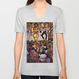 Classical Masterpiece 'Le-Jour-des-Morts' by Diego Rivera Unisex V-Neck
