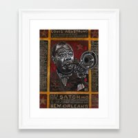 louis armstrong Framed Art Prints featuring Louis Armstrong by Ray Stephenson