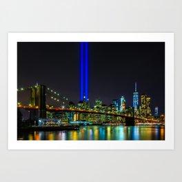 Tribute in Light and the Brooklyn Bridge, New York City Art Print