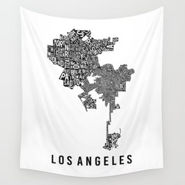 Los Angeles Typographic Map Wall Tapestry