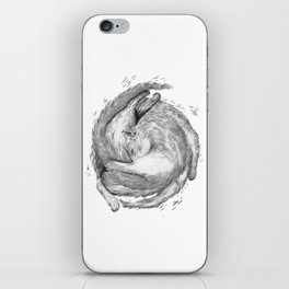Cat Nap Curl Up Circle, Black and White iPhone Skin