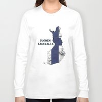 finland Long Sleeve T-shirts featuring Finland / Suomen Tasavalta by Dandy Octopus