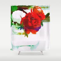 mini Shower Curtains featuring Mini Roses by Christine Belanger