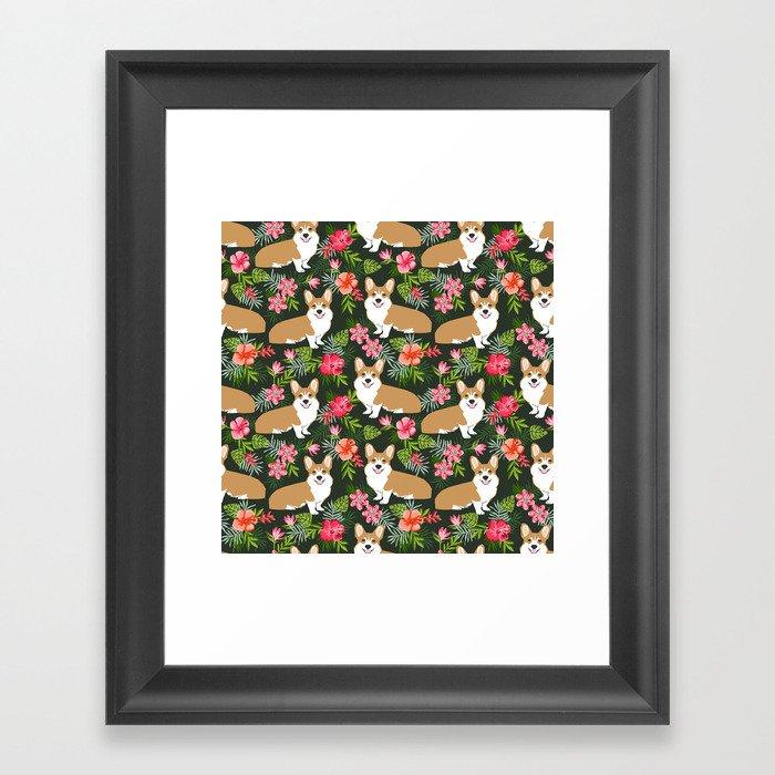 Welsh Corgi hawaiian print pattern florals tropical summer dog breed pet portrait Gerahmter Kunstdruck