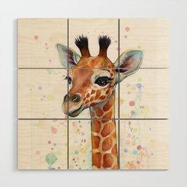 Giraffe Baby Watercolor Wood Wall Art