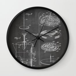 Coffee Filter Patent - Coffee Shop Art - Black Chalkboard Wall Clock