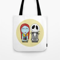 nightmare before christmas Tote Bags featuring Nightmare Before Christmas by Big Purple Glasses