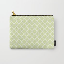 Modern pastel green white moroccan quatrefoil pattern Carry-All Pouch