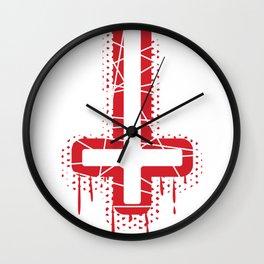 Cross Satan Faith Satanist Atheist Red Gift Wall Clock