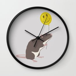 Rat with a Happy Face Balloon Wall Clock