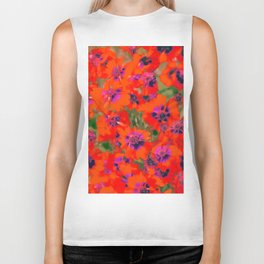 blooming red flower with green leaf background Biker Tank