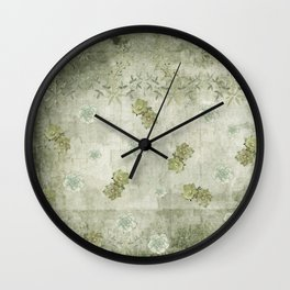 Sage Green Wallflowers Wall Clock