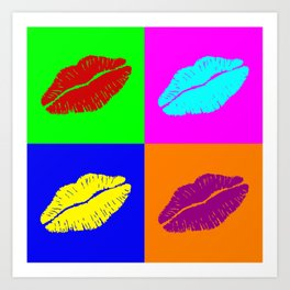 Colorful pop art lipstick kiss Art Print