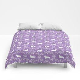 Corgi silhouette florals dog pattern purple and white minimal corgis welsh corgi pattern Comforters