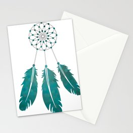 Magic Dreamcatcher with beads and feathers the color of sea water Stationery Cards