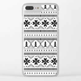 Fair Isle christmas pattern snowflakes camping winter trees christmas tree minimal black and white Clear iPhone Case