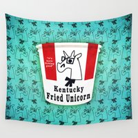 kentucky Wall Tapestries featuring Kentucky Fried Unicorn by That's So Unicorny