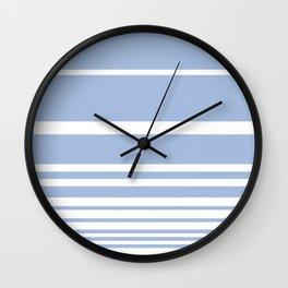 Scandi Pastel Cornflower Stripes Wall Clock
