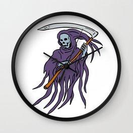 Grim Reaper Drawing Wall Clock