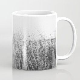 Photo of waving beach grass on the sunny beach in Katwijk | Black and White Photography | Near the sea in Holland/The Netherlands | Fine Art Colorful Travel Photography |  Coffee Mug