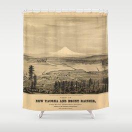 Tacoma and Mount Rainer, Washington (1878) Shower Curtain