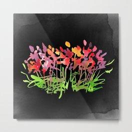 Wild Flowers on Black Metal Print