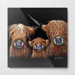 Scottish Hairy Highland Cows ' WE 3 COOS ' by Shirley MacArthur Metal Print