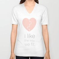 psych V-neck T-shirts featuring i like the way we fit.. shawn and juliet.. psych..  by studiomarshallarts