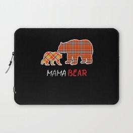 Buffalo Plaid Flannel Bear Mama Proud Mom Family Laptop Sleeve